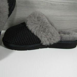 UGG Shoes - UGG Cozy Knit Black Slippers Sheepskin Lined Shoes